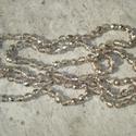 Fényözön - csillogó nyaklánc, Ékszer, Esküvő, Nyaklánc, 8 mm-es csillogó ezüst-, és kristályszín csiszolt üveggyöngyökből fűzött hosszú nyaklánc.  Boltomban..., Meska
