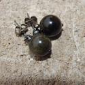 ÚJ! Arany obszidián fülbevaló, Ékszer, Esküvő, Fülbevaló, 10 mm-es arany obszidián ásvány gyöngyök és fekete színű szerelékből összeállított fülbevaló.  10000..., Meska