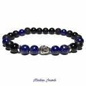 Lápisz Lazuli Buddha férfi karkötő, Férfiaknak, Ékszer, óra, Karkötő, Óra, ékszer, kiegészítő, Ékszerkészítés, Gyöngyfűzés, Gumidamilra fűzött kiváló minőségű  8mm-es Lápisz Lazuli ásványok Ónixszal, Lávakővel és ezüst szín..., Meska