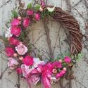Virágos tavaszi-nyári koszorú, ajtódísz, Dekoráció, Ünnepi dekoráció, Dísz, Húsvéti apróságok, Virágkötés, Saját kertemben lévő vadszőlő-indákból fontam meg a koszorú alapját, majd mindenféle selyemvirággal..., Meska