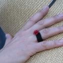 Piros korallrózsa gyűrű