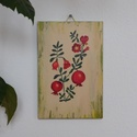 Különlegesség festett GRÁNÁTALMA egzotikus kép konyhába étkezőbe, Dekoráció, Otthon, lakberendezés, Kép, Falikép, Famegmunkálás, Festett tárgyak, Falapra festett képecske, szép ajándék, dekoratív dekoráció:)  Kérésre más (gyógy)növényt, virágot ..., Meska