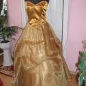Koszorúslány, báli, alkalmi ruha. Arany organza- selyem. , Ruha, divat, cipő, Esküvői ruha, Elegáns koszorúslány, báli, alkalmi ruha. Anyaga selyem és organza. Szoknya dereka gumizott, or..., Meska