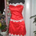 Alkalmi ruha, báli, menyecske ruha, csipke, 36-38, Esküvő, Ruha, divat, cipő, Menyasszonyi ruha, Esküvői ruha, Egyedi tervezésü, két részes alkalmi, báli, menyecske ruha. Anyaga francia csipke, selyem. Szok..., Meska