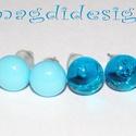Víz kék, encián kék üvegékszer fülbevaló, Ékszer, óra, Fülbevaló, Ékszerkészítés, Üvegművészet, Víz kék és áttetsző enciánkék kék muránói üvegek felhasználásával készült a két pár fülbevaló, olva..., Meska