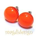 Élénk narancssárga üvegékszer pötty fülbevaló , Ékszer, óra, Fülbevaló, Ékszerkészítés, Üvegművészet,  Élénk, narancssárga, márványos üveg felhasználásával készült  a fülbevaló, olvasztásos technikával..., Meska
