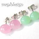 Pasztell zöld és rózsaszín üvegékszer pötty fülbevaló 2 pár, Ékszer, óra, Fülbevaló, Pasztell zöld és rózsaszín muránói üvegek felhasználásával készült a két pár fülbeval..., Meska