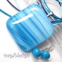 Hullámzó, csillogó kéktenger üvegékszer szett, nyaklánc, fülbevaló, Ékszer, óra, Medál, Fülbevaló, Ékszerszett, Ékszerkészítés, Üvegművészet, Kék, hullámzó mintás, csillogó ékszerüveg felhasználásával készült a medál és a fülbevaló, olvasztá..., Meska