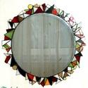 Geometria tükör, Dekoráció, Otthon, lakberendezés, Képkeret, tükör, Dísz, Tiffany technikával készült fali tükör. 43cm átmérőjű és 123db-ból áll. Színes háromsz..., Meska