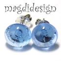 Áttetsző víz kék üvegékszer pötty fülbevaló