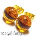 Méz sárga üvegékszer pötty fülbevaló, Ékszer, óra, Fülbevaló, Ékszerkészítés, Üvegművészet, Csillogó, áttetsző méz sárga ékszerüveg felhasználásával készült a fülbevaló, olvasztásos technikáv..., Meska