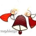 Karácsonyi angyalkák és harang , Otthon, lakberendezés, Dekoráció, Ünnepi dekoráció, Karácsonyi, adventi apróságok, Üvegművészet, Fémmegmunkálás, Bordó-piros, narancssárga mintás, fehér üveg és lámpa gyöngy felhasználásával készült a két angyalk..., Meska