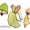 Tiffany angyalkák és harang, Dekoráció, Otthon, lakberendezés, Ünnepi dekoráció, Karácsonyi, adventi apróságok, Üvegművészet, Fémmegmunkálás, Tiffany technikával készült a két angyalka és a harang. Fehér, borostyános-zöld, narancssárga  üveg..., Meska
