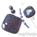 Csillámporos kék éjszaka üvegékszer szett, nyaklánc, gyűrű, fülbevaló, Ékszer, óra, Gyűrű, Medál, Fülbevaló, Ékszerkészítés, Üvegművészet, BOLTOMBAN TALÁLHATÓ ÖSSZES ÉKSZER KÉSZLETEN VAN, KOSÁRBA TÉTEL UTÁN AZONNAL TUDOM POSTÁZNI!  Csillo..., Meska