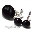 Fekete üvegékszer szett  gyűrű, kapcsos fülbevaló, Ékszer, óra, Gyűrű, Fülbevaló, Ékszerszett, Ékszerkészítés, Üvegművészet, Fekete ékszerüveg felhasználásával készült a gyűrű és a kapcsos fülbevaló, olvasztásos technikával...., Meska