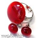 Áttetsző élénk piros üvegékszer szett  gyűrű, fülbevaló, Ékszer, óra, Gyűrű, Ékszerszett, Fülbevaló, Ékszerkészítés, Üvegművészet, Áttetsző, élénk piros  ékszerüveg felhasználásával készült a gyűrű és a fülbevaló, olvasztásos tech..., Meska