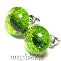 Zöld csillámporos üvegékszer pötty fülbevaló , Ékszer, Fülbevaló, Ékszerkészítés, Üvegművészet, Óriási színválaszték kapcsos és stiftes fülbevalókból boltomban!!!  Zöld csillogó ékszerüveg felhas..., Meska
