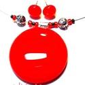 Tüzes vörös üvegékszer szett, nyaklánc, fülbevaló, Ékszer, óra, Fülbevaló, Medál, Ékszerszett, Ékszerkészítés, Üvegművészet, BOLTOMBAN TALÁLHATÓ ÖSSZES ÉKSZER KÉSZLETEN VAN, KOSÁRBA TÉTEL UTÁN AZONNAL TUDOM POSTÁZNI! Tűzpiro..., Meska