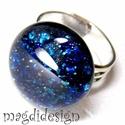 Kék aventurin csillogás üvegékszer gyűrű , Ékszer, óra, Ruha, divat, cipő, Esküvő, Gyűrű, Ékszerkészítés, Üvegművészet, Csillogó, kék aventurin üveg felhasználásával készült a gyűrű, olvasztásos technikával. A gyűrűfej ..., Meska