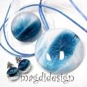 Csillámporos Adria üvegékszer szett, nyaklánc, gyűrű, fülbevaló , Ékszer, óra, Gyűrű, Medál, Fülbevaló, Ékszerkészítés, Üvegművészet, Óriási színválaszték csillámporos szettekből boltomban. Fehér és kék csillogó ékszerüveg felhasznál..., Meska