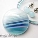 Trendi türkiz-kék-lila elegancia, üvegékszer szett, nyaklánc, fülbevaló  AKCIÓS!!!, Ékszer, óra, Fülbevaló, Medál, Ékszerszett, Ékszerkészítés, Üvegművészet, 3190-Ft helyett 2690-Ft.  Türkiz-lila-kék  mintás ékszerüveg felhasználásával készült ez az elegáns..., Meska