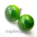 Csillámos zöld üvegékszer pötty fülbevaló , Ékszer, Fülbevaló, Ékszerkészítés, Üvegművészet, Óriási színválaszték kapcsos és stiftes fülbevalókból boltomban!!! Csillogó zöld ékszerüveg felhasz..., Meska