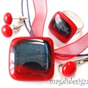 Piros-kék fényjáték üvegékszer szett, nyaklánc, gyűrű, fülbevaló, Ékszer, óra, Medál, Gyűrű, Fülbevaló, Ékszerkészítés, Üvegművészet, Ajándék hajcsattal!  Piros és kék csillogó üvegből készült ez az elegáns, trendi nyaklánc, gyűrű és..., Meska