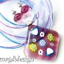 Rózsaszín virágtenger 1 millefioris üvegékszer szett, nyaklánc, fülbevaló, Ékszer, óra, Fülbevaló, Ékszerszett, Medál, Ékszerkészítés, Üvegművészet, Óriási választék virágos szettekből boltomban!  Áttetsző mályvás rózsaszín muránói üveg és millefio..., Meska