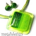Csillogó zöld liget üvegékszer szett, nyaklánc, pötty fülbevaló, Ékszer, óra, Fülbevaló, Medál, Ékszerszett, Ékszerkészítés, Üvegművészet, Áttetsző, mintás, csillogó zöld ékszerüveg felhasználásával készült a medál és a stiftes fülbevaló,..., Meska