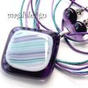 Lila-türkiz hullámzás üvegékszer szett, nyaklánc, fülbevaló, Ékszer, óra, Medál, Fülbevaló, Ékszerszett, Ékszerkészítés, Üvegművészet, Áttetsző lila és mintás türkiz-kék-lila ékszerüveg felhasználásával készült a medál és a kocka fülb..., Meska