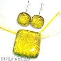 Aranysárga gyémántfény üvegékszer szett, nyaklánc, kapcsos fülbevaló, Ékszer, óra, Ruha, divat, cipő, Medál, Fülbevaló, Ékszerkészítés, Üvegművészet, Óriási választék dichroic ékszerekből boltomban!!!  Kristályos arany-sárga-narancs dichroic üveg fe..., Meska