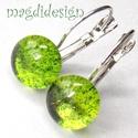 Zöld csillámporos üvegékszer kapcsos fülbevaló , Ékszer, Fülbevaló, Ékszerkészítés, Üvegművészet, Óriási színválaszték kapcsos és stiftes fülbevalókból boltomban!!!  Zöld csillogó ékszerüveg felhas..., Meska