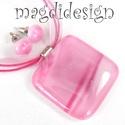 Márványos rózsaszín-pink üvegékszer szett, nyaklánc, pötty fülbevaló, Ékszer, óra, Ruha, divat, cipő, Fülbevaló, Medál, Ékszerkészítés, Üvegművészet, Óriási választék, kedvező áron, kocka formájú medálos szettekből!!   Pasztell, mintás, szürke éksze..., Meska