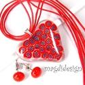 Piros-virág szív üvegékszer szett nyaklánc pötty fülbevaló, Ékszer, óra, Ruha, divat, cipő, Medál, Fülbevaló, Ékszerkészítés, Üvegművészet, Áttetsző muránói ékszerüveg és piros milefiori virág gyöngy felhasználásával készült a medál és a f..., Meska