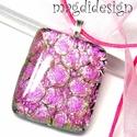Magenta rózsák tánca üvegékszer nyaklánc, Ékszer, óra, Baba-mama-gyerek, Ruha, divat, cipő, Medál, Ékszerkészítés, Üvegművészet, Csillogó pink-rózsaszín-pezsgő-zöld mintás dichroic  ékszerüveg felhasználásával készült a medál, o..., Meska