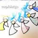 Tiffany angyalkák 5 db, Dekoráció, Otthon, lakberendezés, Ünnepi dekoráció, Karácsonyi, adventi apróságok, Üvegművészet, Fémmegmunkálás, Áttetsző-csillogó, sárga, kék, lilás-rózsaszín mintás üveg és lámpagyöngy felhasználásával készült ..., Meska