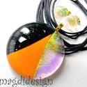 Arany- narancs-fekete  SZÍNTRIÓ üvegékszer szett, nyaklánc, pötty  fülbevaló , Ékszer, Fülbevaló, Medál, Ékszerkészítés, Üvegművészet, Csillogó arany dichroic, csillogó fekete aventurin és narancs színű minőségi, ékszerüvegből készült..., Meska