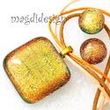Arany fénysugár üvegékszer szett, nyaklánc, pötty fülbevaló, Ékszer, óra, Medál, Fülbevaló, Ékszerszett, Óriási választék dichroic ékszerekből boltomban!!!  Narancssárga-arany dichroic üveg felhasz..., Meska