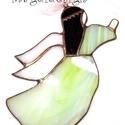 Angyalka zöld ruhában 1, Dekoráció, Otthon, lakberendezés, Ünnepi dekoráció, Karácsonyi, adventi apróságok, Üvegművészet, Fémmegmunkálás, Mintás pasztell zöld, fehér és barna színű üvegek felhasználásával készült, tiffany technikával ez ..., Meska