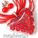 Piros-virág szív üvegékszer szett nyaklánc pötty fülbevaló, Ékszer, Szerelmeseknek, Medál, Fülbevaló, Ékszerkészítés, Üvegművészet, Áttetsző muránói ékszerüveg és piros milefiori virág gyöngy felhasználásával készült a medál és a f..., Meska