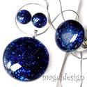 Kék aventurin csillogás üvegékszer szett, nyaklánc, gyűrű, pötty fülbevaló, Ékszer, Fülbevaló, Medál, Gyűrű, Ékszerkészítés, Üvegművészet, Óriási választék boltomban aventurin szettekből!!! Csillogó, kék aventurin üveg felhasználásával ké..., Meska