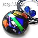 Szivárványos csillogás 1 üvegékszer szett nyaklánc, pötty fülbevaló, Ékszer, Medál, Fülbevaló, Ékszerszett, Ékszerkészítés, Üvegművészet, Óriási választék  dichroic ékszerekből  boltomban!!! Csillogó kék, zöld, vörös, arany, ezüstszínű d..., Meska