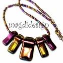 Éteri eozin bíbor-arany-fényben üvegékszer nyaklánc, Ékszer, Medál, Nyaklánc, Ékszerkészítés, Üvegművészet, Óriási választék eozinos ékszerekből!  Elegáns alkalmi kiegészítőnek is tökéletes nyaklánc. Vagány,..., Meska