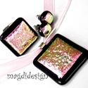 Rózsaszín-fekete pezsgő üvegékszer szett nyaklánc, gyűrű,  fülbevaló, Ékszer, Medál, Fülbevaló, Gyűrű, Ékszerkészítés, Üvegművészet, Csillogó pink-rózsaszín-kék-pezsgő mintás dichroic és rózsaszín ékszerüveg felhasználásával készült..., Meska