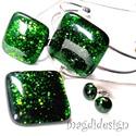 Zöld aventurin csillogás üvegékszer szett, nyaklánc,  karkötő, gyűrű, pötty fülbevaló, Ékszer, Medál, Karkötő, Gyűrű, Ékszerkészítés, Üvegművészet,  Csillogó, zöld aventurin ékszerüveg felhasználásával készült a medál, a karkötő, a gyűrű és a stif..., Meska