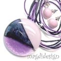 Selyem-szürke, lila SZÍNTRIÓ üvegékszer szett, nyaklánc, stiftes fülbevaló, Ékszer, Ruha, divat, cipő, Medál, Fülbevaló, Ékszerkészítés, Üvegművészet, Csillogó szürke, áttetsző, lila és halvány rózsaszínes- lila minőségi, ékszerüvegből készült a medá..., Meska