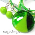 Zöld SZÍNTRIÓ üvegékszer szett, nyaklánc, kapcsos fülbevaló , Ékszer, Ruha, divat, cipő, Fülbevaló, Medál, Ékszerkészítés, Üvegművészet, Áttetsző zöld, fűzöld minőségi, ékszerüvegből készült a medál, és a kapcsos fülbevaló, olvasztásos ..., Meska