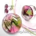 Magnólia virágzás üvegékszer szett nyaklánc, gyűrű, fülbevaló, Ékszer, Gyűrű, Fülbevaló, Medál, Ékszerkészítés, Üvegművészet, Áttetsző zöld, rózsaszín, mintás különleges ékszerüveg felhasználásával készült a medál, a gyűrű és..., Meska