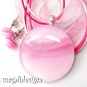 Pasztell rózsaszín-pink üvegékszer szett nyaklánc, pötty fülbevaló, Ékszer, Medál, Fülbevaló, Ékszerkészítés, Üvegművészet, Pasztell, pinkes-rózsaszín, mintás, minőségi ékszerüveg került felhasználásra ennél a mutatós, eleg..., Meska