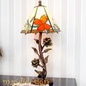Futórózsa tiffany lámpa , Otthon, lakberendezés, Dekoráció, Esküvő, Ballagás, Tiffany technikával készült a lámpa. A lámpa buránál krém-fehér, borostyán, zöld, narancs..., Meska